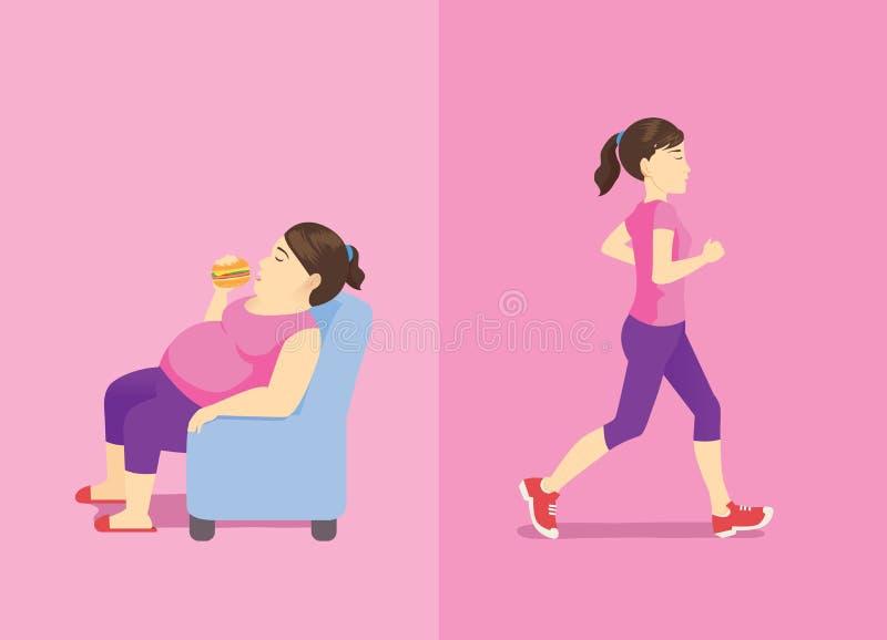 Mujer gorda que come la hamburguesa en el sofá pero mujer delgada que activa stock de ilustración