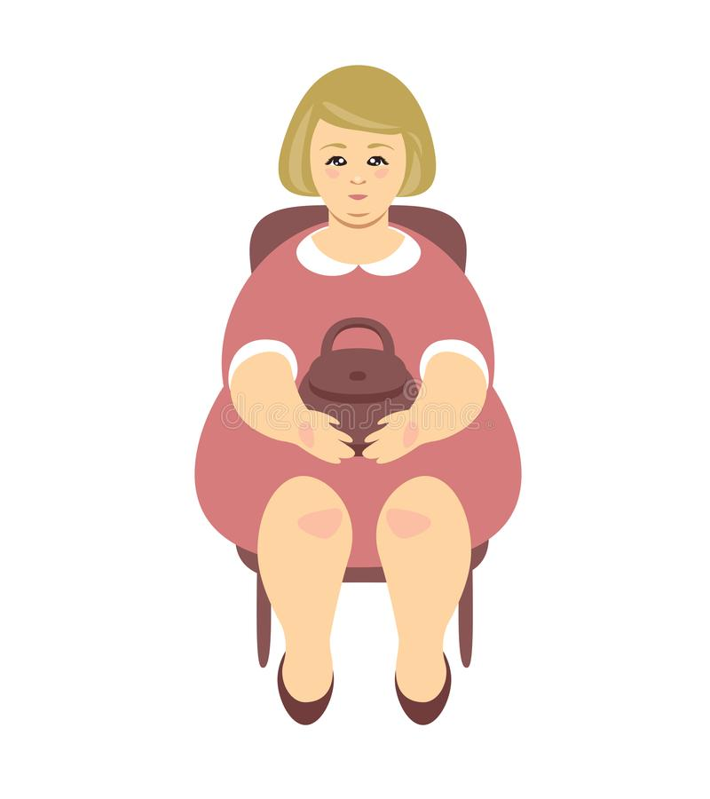 Mujer gorda rubia que se sienta en una silla Vector libre illustration