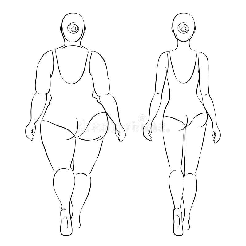 Mujer gorda y mujer delgada Dibujo de esquema stock de ilustración