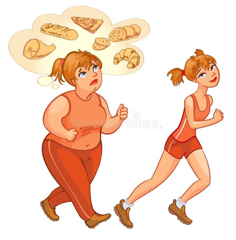 Mujer gorda y fina joven que activa stock de ilustración
