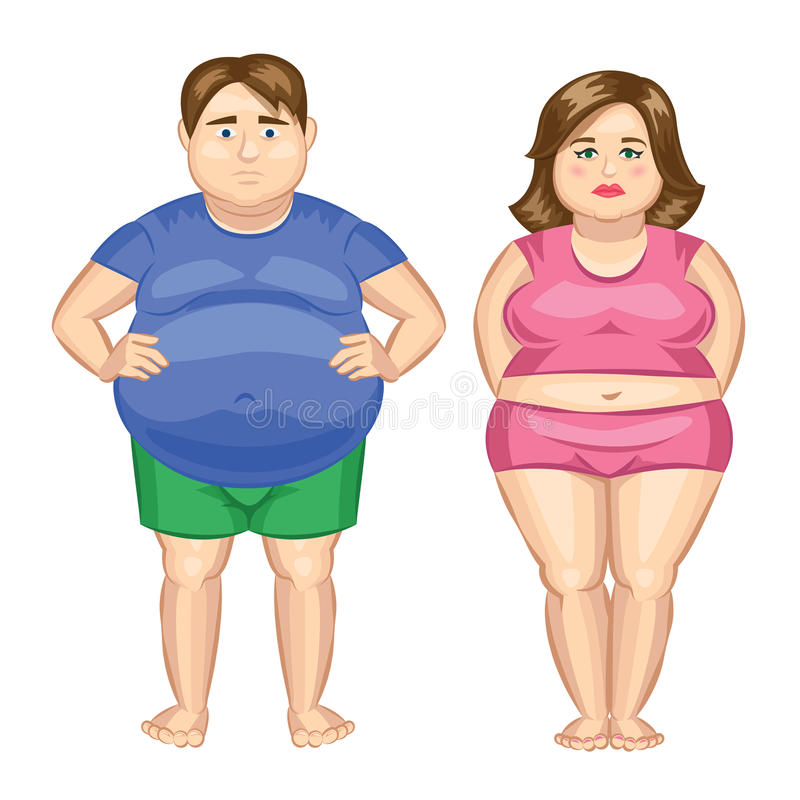 Mujer gorda y hombre gordo ilustración del vector