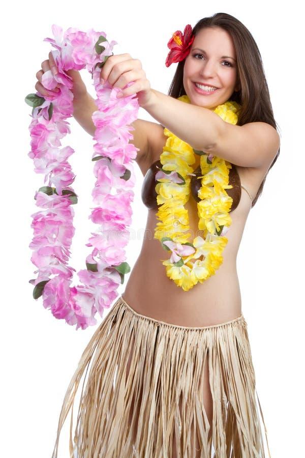 Mujer hawaiana de los leus imagenes de archivo