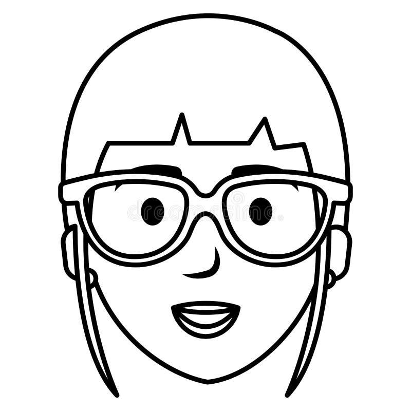 Mujer hermosa con el carácter principal del avatar de los vidrios libre illustration
