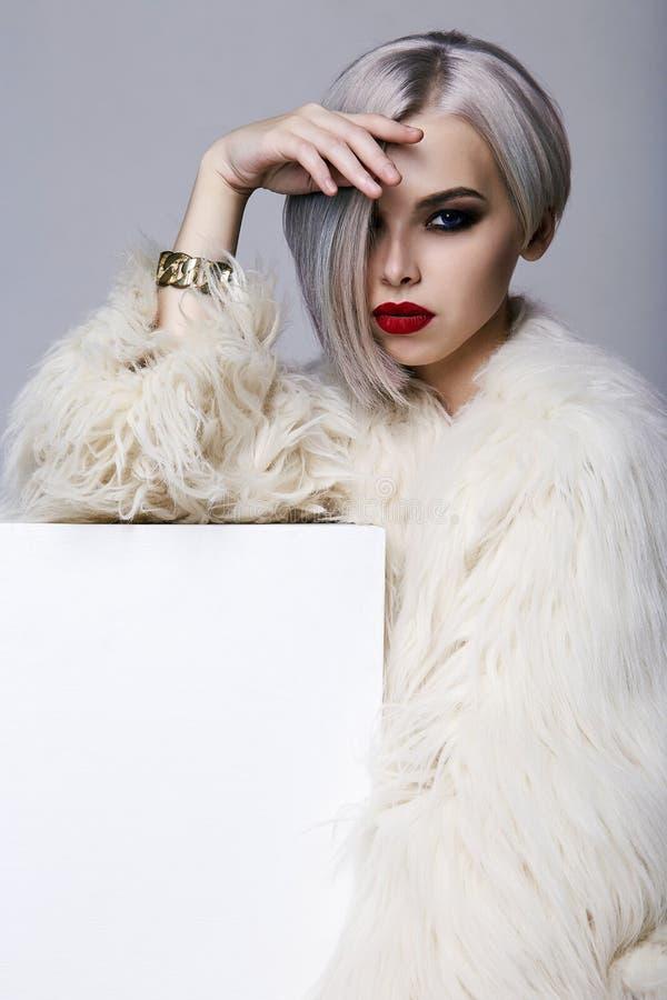 Mujer hermosa con el peinado colorido, vestido en piel foto de archivo libre de regalías