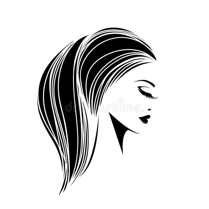 Mujer hermosa con el peinado de la cola de caballo y el maquillaje elegante ilustración del vector