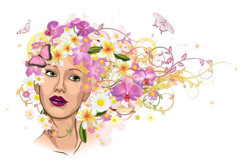 Mujer hermosa con el pelo hecho de flores ilustración del vector