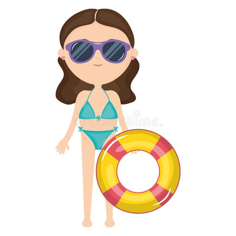 Mujer hermosa con el traje de baño y el flotador ilustración del vector