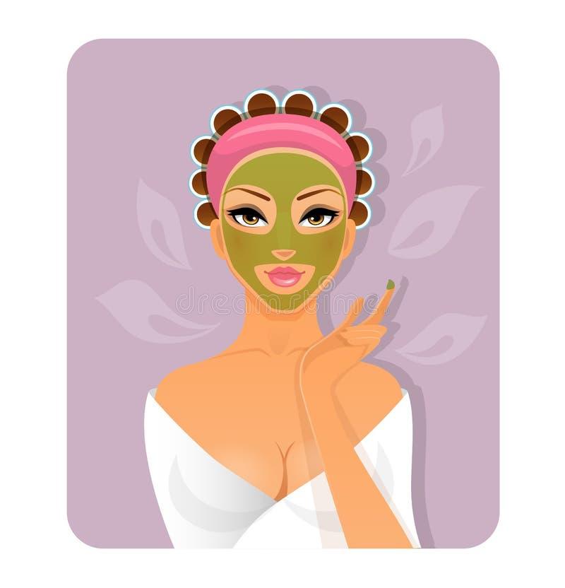 Mujer hermosa con la cara-máscara ilustración del vector