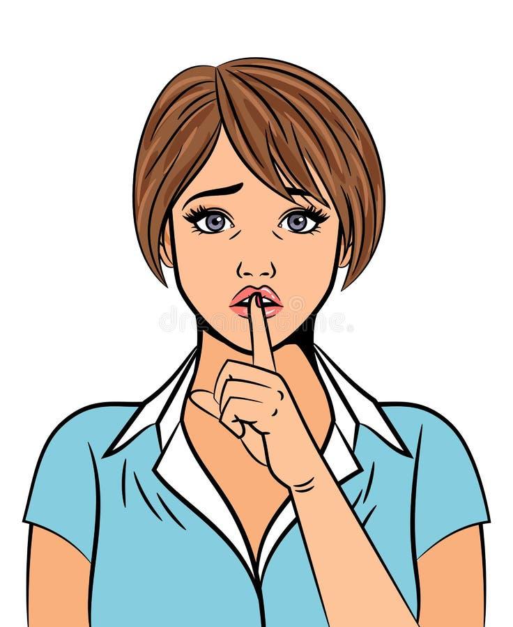 Mujer hermosa con la muestra silenciosa de la mano ilustración del vector