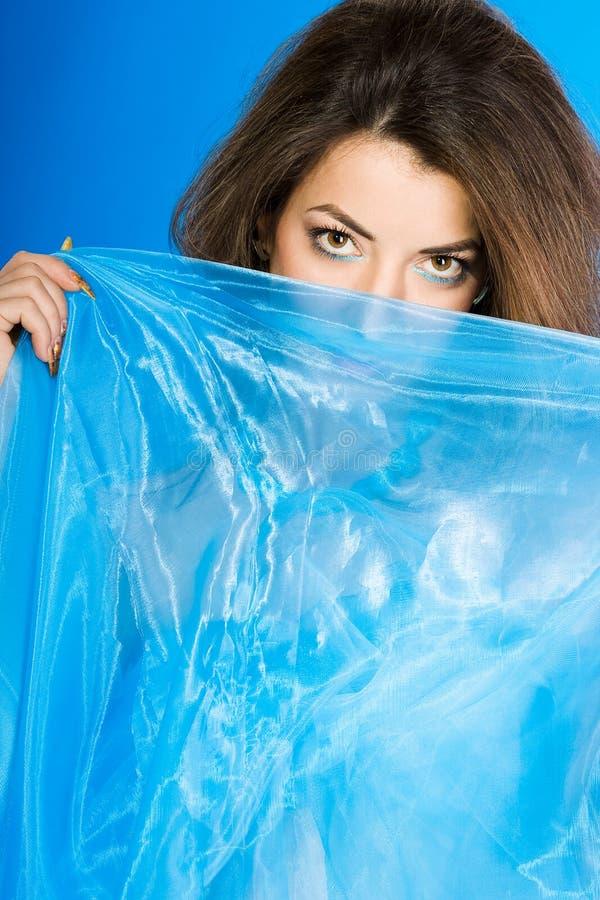 Download Mujer Hermosa Con La Seda Azul Foto de archivo - Imagen de cosmético, vistazo: 7151626