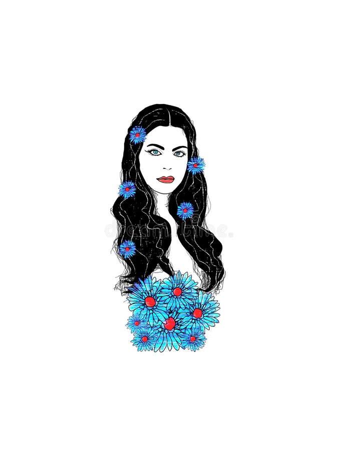 Mujer hermosa con las flores en pelo libre illustration