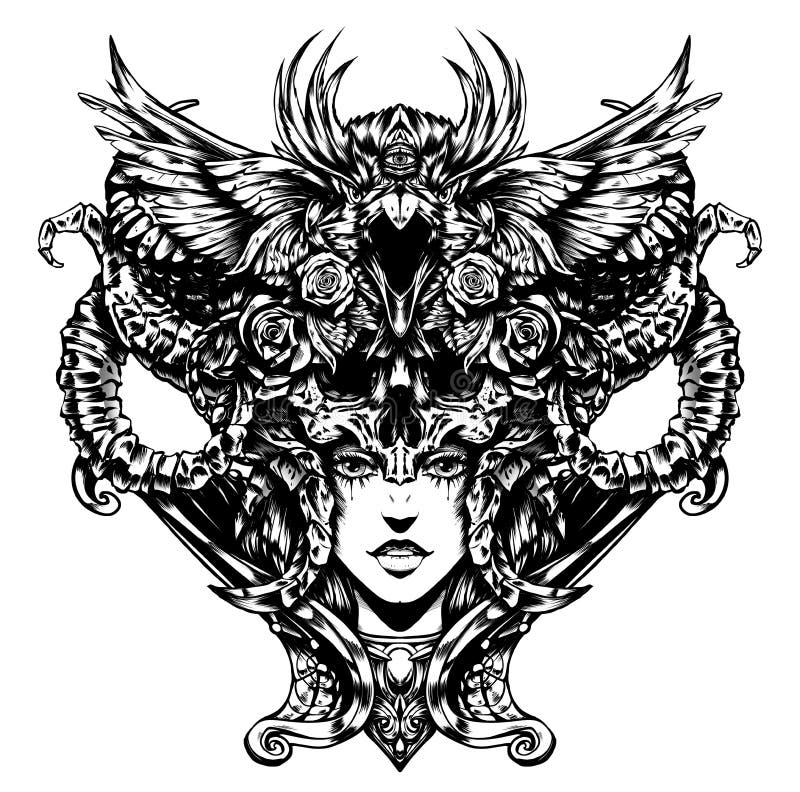 Mujer hermosa con los cuernos en su cabeza ilustración del vector