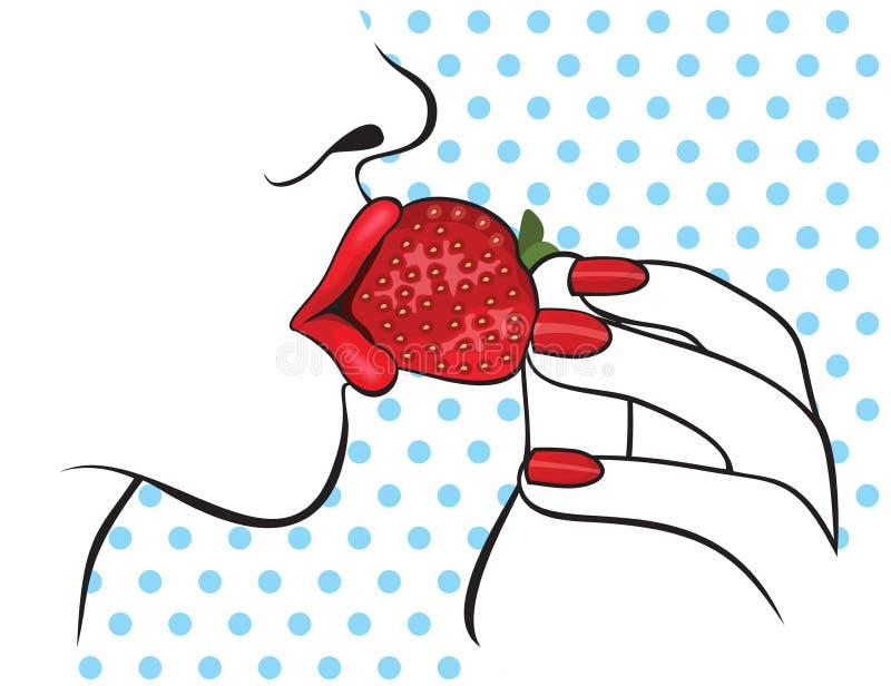 Mujer hermosa con los labios rojos que come la fresa libre illustration
