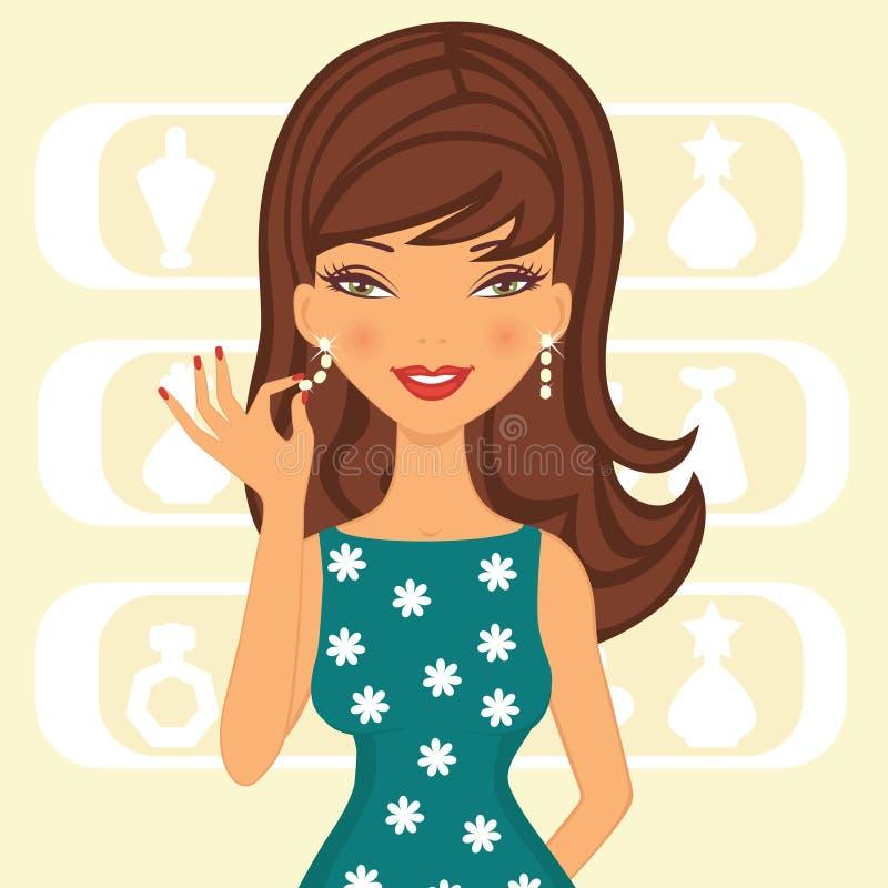 Mujer hermosa con los pendientes ilustración del vector