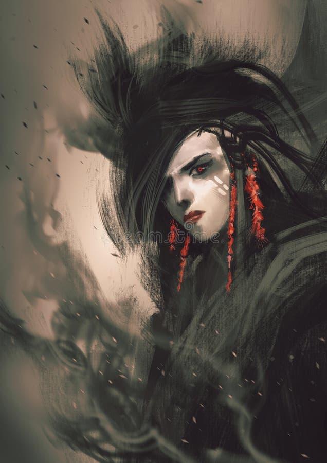 Mujer hermosa con los pendientes rojos stock de ilustración