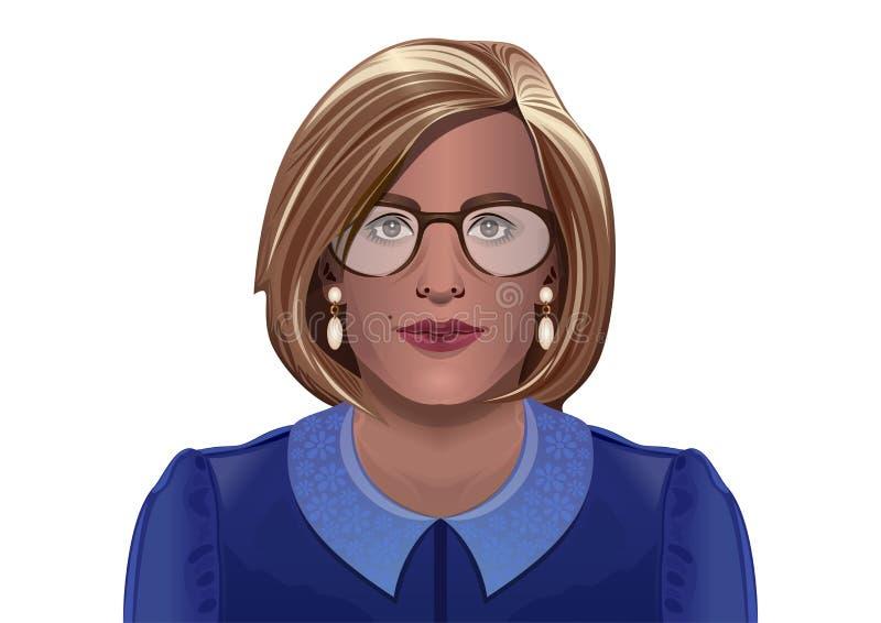 Mujer hermosa con los vidrios en un fondo blanco stock de ilustración