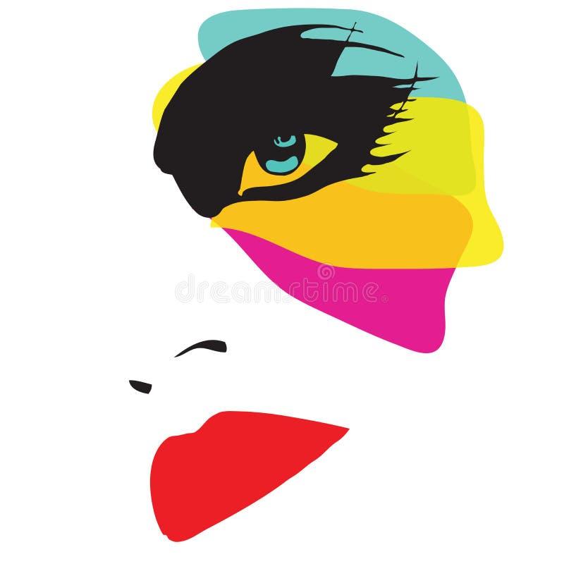 Mujer hermosa con maquillaje excéntrico ilustración del vector