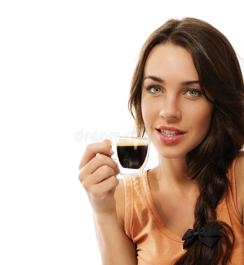 Mujer hermosa con una taza de café del café express foto de archivo libre de regalías