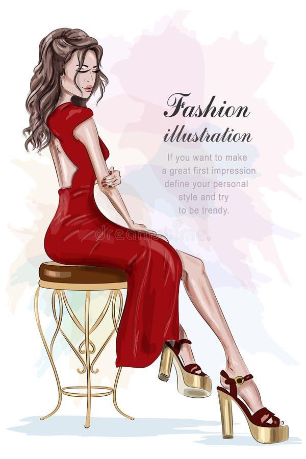 Mujer hermosa de la moda en el vestido rojo que se sienta en silla del vintage bosquejo Muchacha bonita dibujada mano ilustración del vector