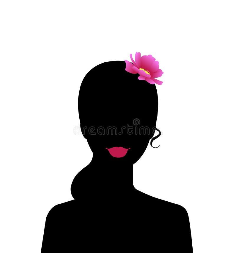 Mujer hermosa de la silueta negra con vector del pelo libre illustration