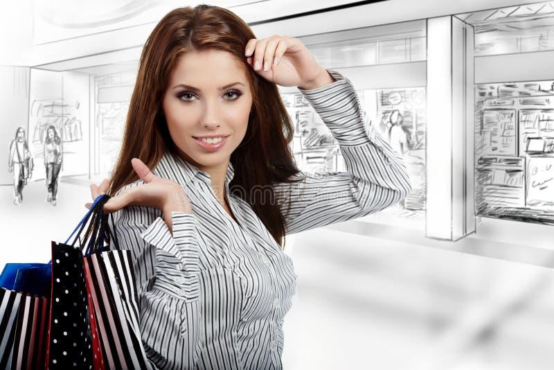 Mujer hermosa de las compras imagenes de archivo