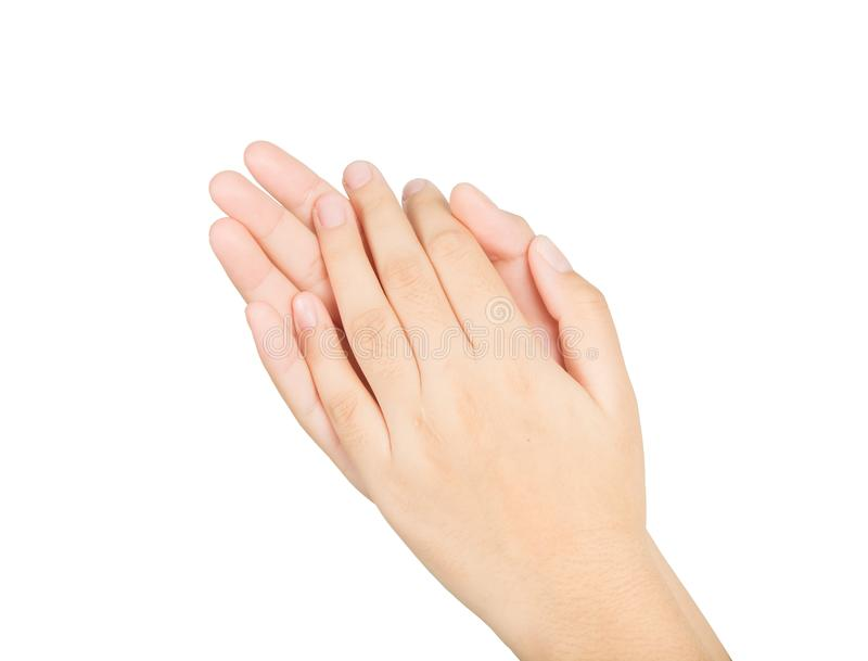 Mujer hermosa de las manos en blanco fotografía de archivo