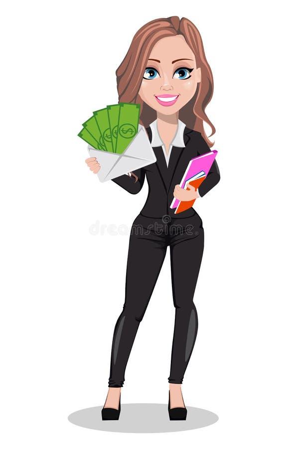 Mujer hermosa del agente inmobiliario Un agente inmobiliario stock de ilustración
