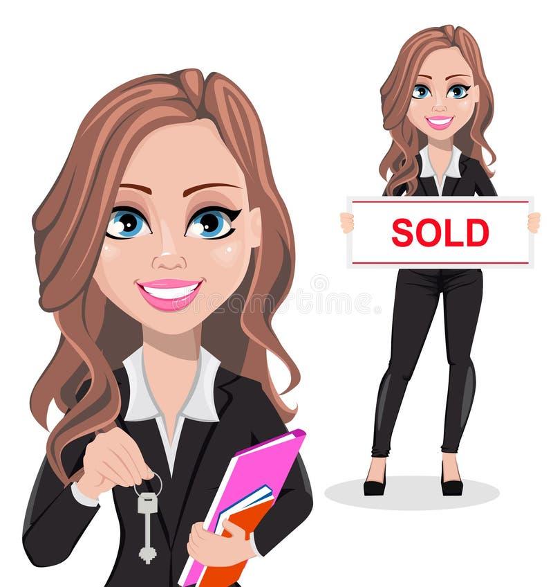 Mujer hermosa del agente inmobiliario Un agente inmobiliario ilustración del vector