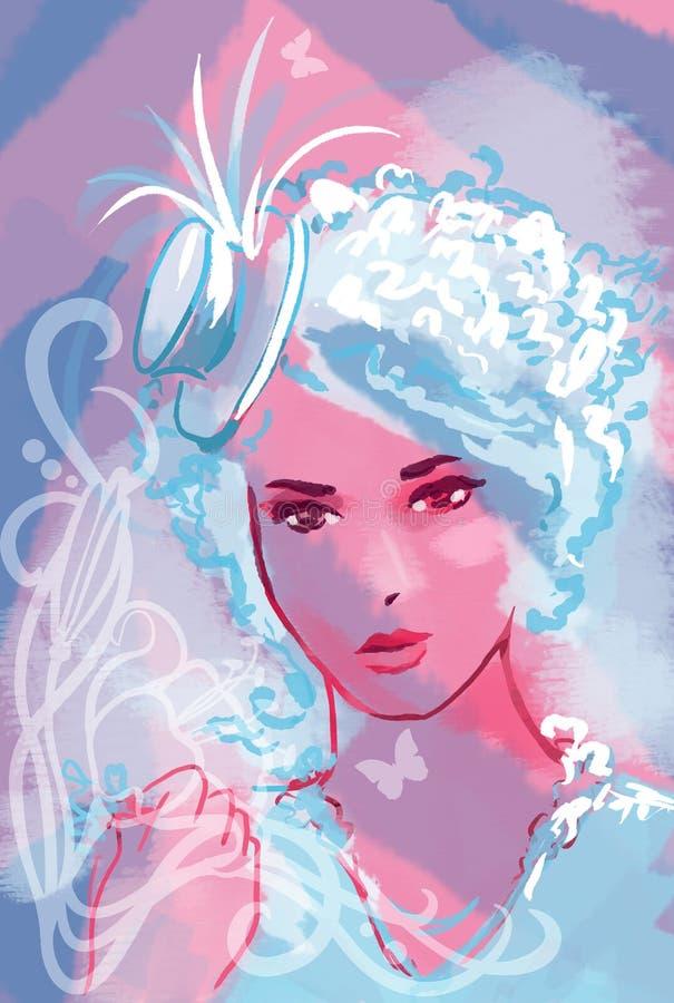 Mujer hermosa del cabaret stock de ilustración