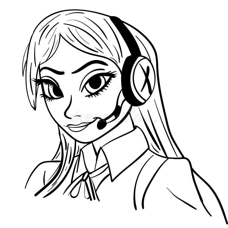 Mujer hermosa del centro de atención telefónica con las auriculares, ejemplo del vector libre illustration