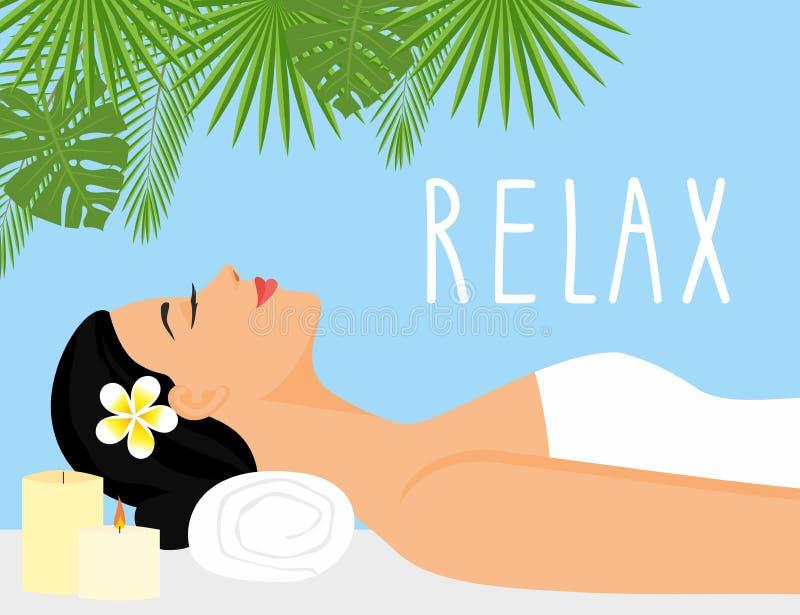 Mujer hermosa del ejemplo del vector en el ambiente del balneario mujer que se relaja en salud y salón del balneario stock de ilustración
