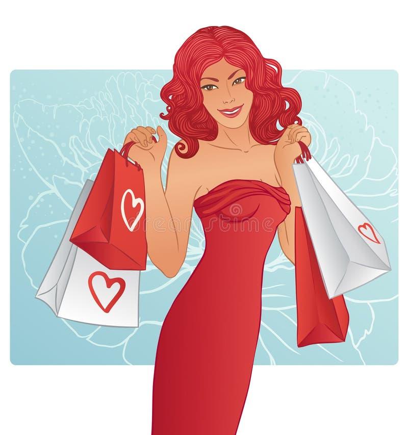 Mujer hermosa del redhead con los bolsos de compras ilustración del vector