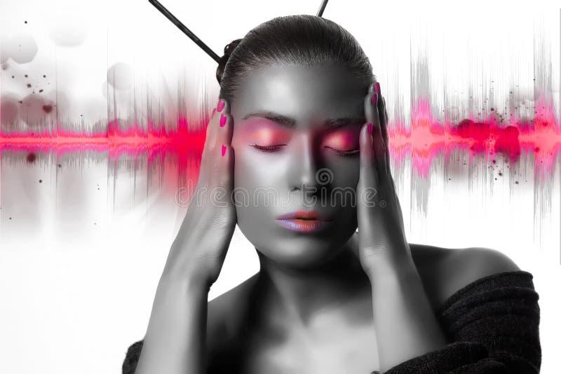 Sonidos buenos. Buenas vibraciones. Onda acústica rosada fotografía de archivo libre de regalías