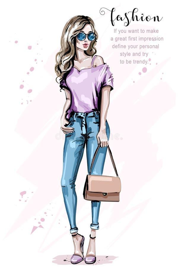 Mujer hermosa dibujada mano con el bolso Mirada de la mujer de la moda Muchacha elegante del pelo rubio en gafas de sol Señora bo stock de ilustración