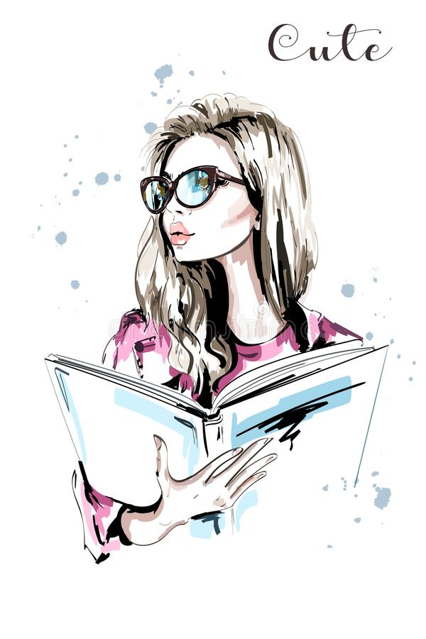 Mujer hermosa dibujada mano con el libro Mujer de la moda en lentes Retrato elegante de la muchacha del pelo rubio bosquejo ilustración del vector