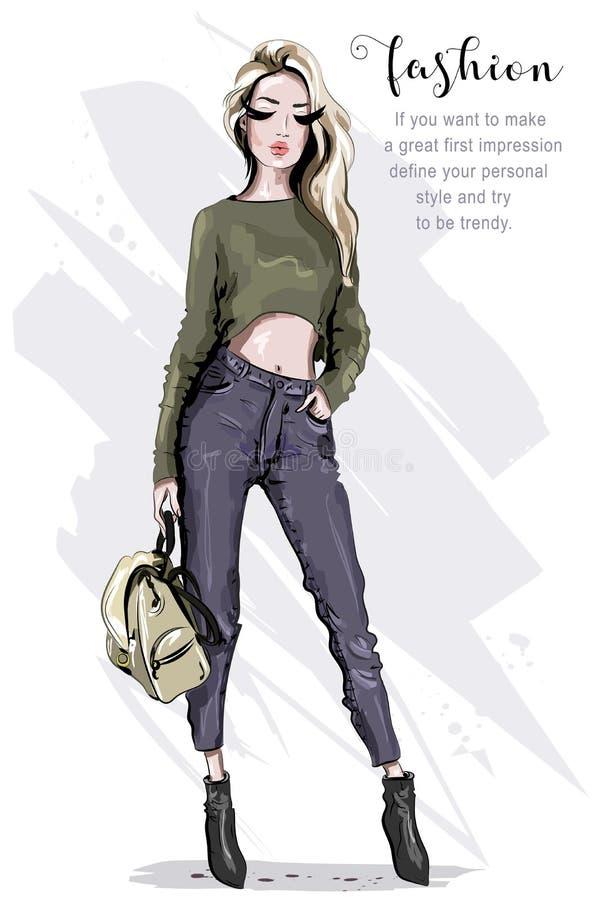Mujer hermosa dibujada mano de la moda con la mochila Presentación elegante del modelo Mujer del pelo rubio en ropa de la moda Eq ilustración del vector