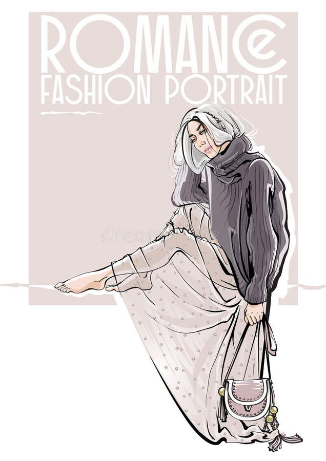 Mujer hermosa dibujada mano del bosquejo Ejemplo de la moda del vector imagen de archivo