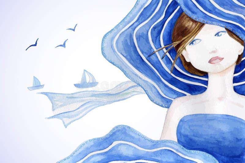 Mujer hermosa diseñada retra en sombrero del sol en fondo del mar stock de ilustración