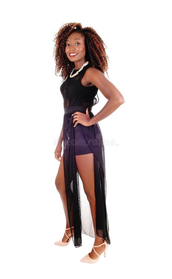 Mujer hermosa en alineada negra fotos de archivo