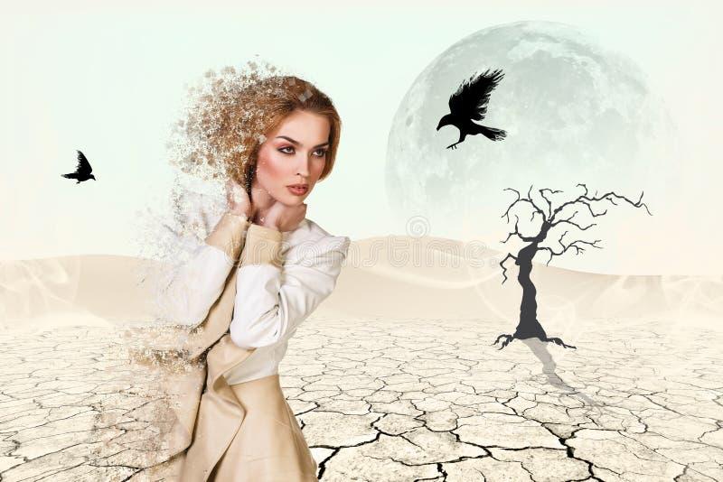 Mujer hermosa en desierto imágenes de archivo libres de regalías