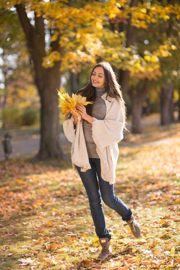 Mujer hermosa en el parque del otoño fotos de archivo