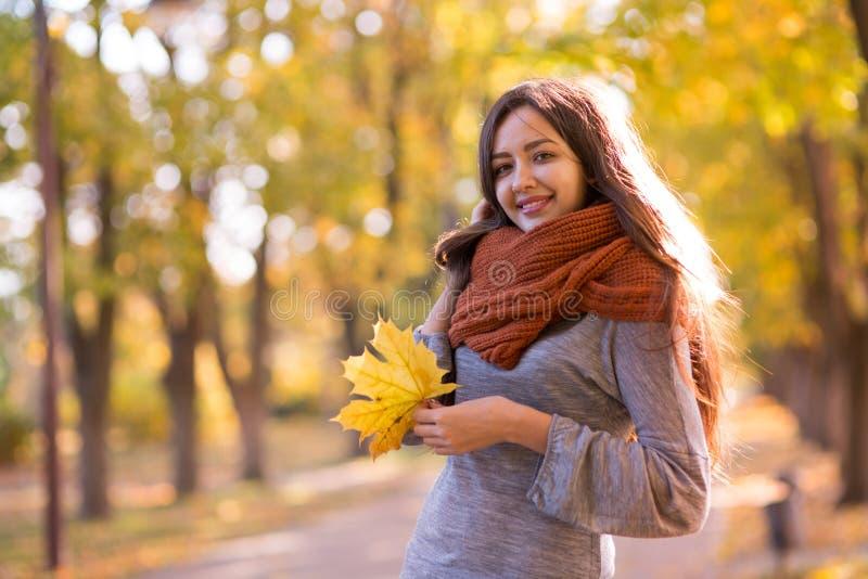 Mujer hermosa en el parque del otoño fotografía de archivo libre de regalías