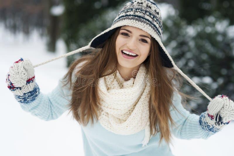Mujer hermosa en invierno imagenes de archivo