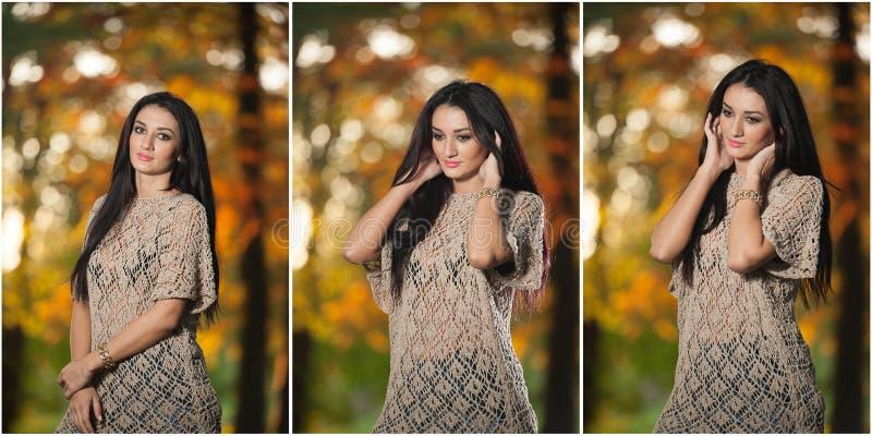 Mujer hermosa en la blusa del cordón que presenta en parque otoñal Mujer morena joven que pasa tiempo en bosque durante temporada imagenes de archivo