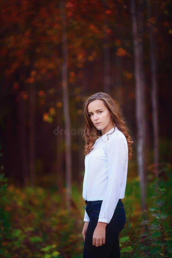 Mujer hermosa en la muchacha morena joven del bosque del otoño imágenes de archivo libres de regalías