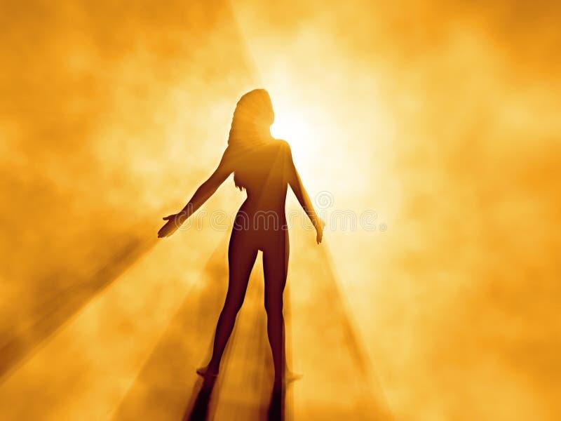 Mujer hermosa en niebla de la salida del sol libre illustration