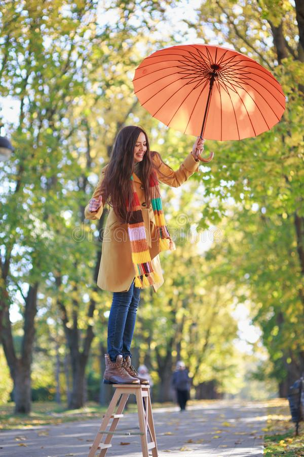 Mujer hermosa en parque del otoño foto de archivo