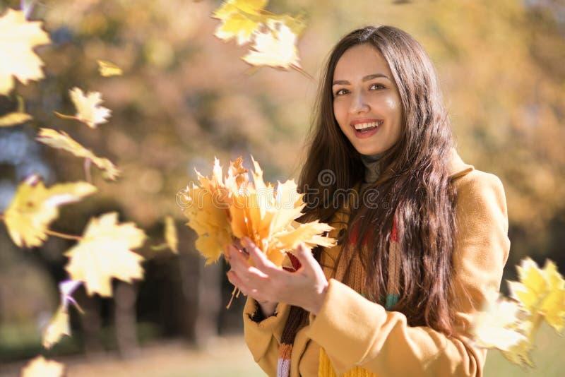 Mujer hermosa en parque del otoño fotos de archivo