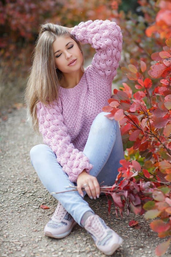 Mujer hermosa en parque del otoño imágenes de archivo libres de regalías