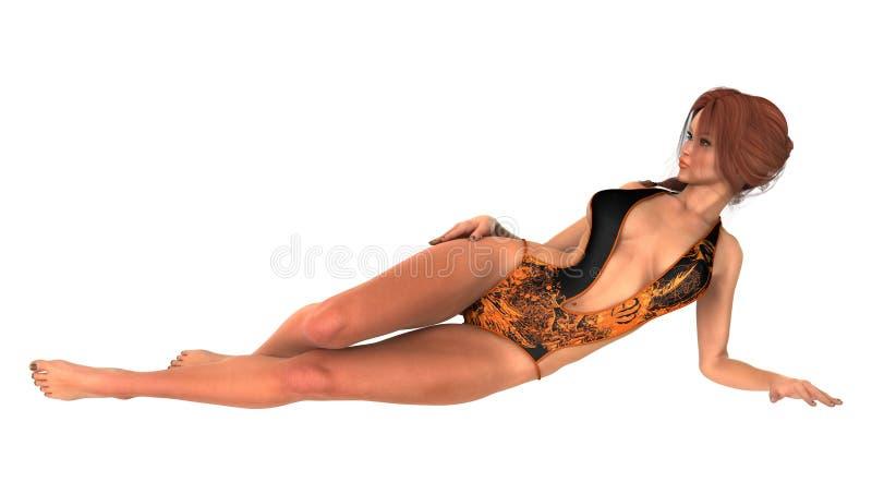 Mujer hermosa en tomar el sol del bikini ilustración del vector